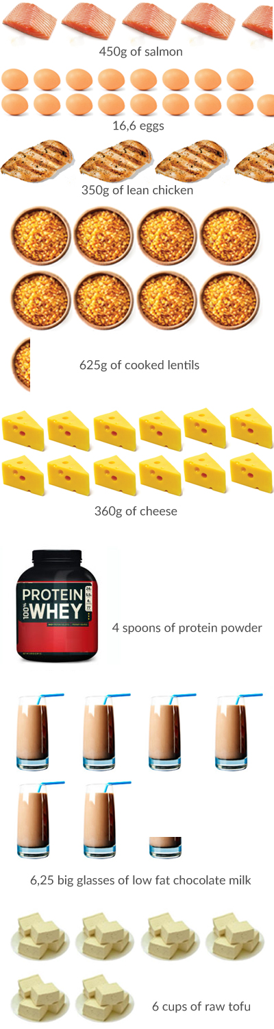 100g of proteins in food